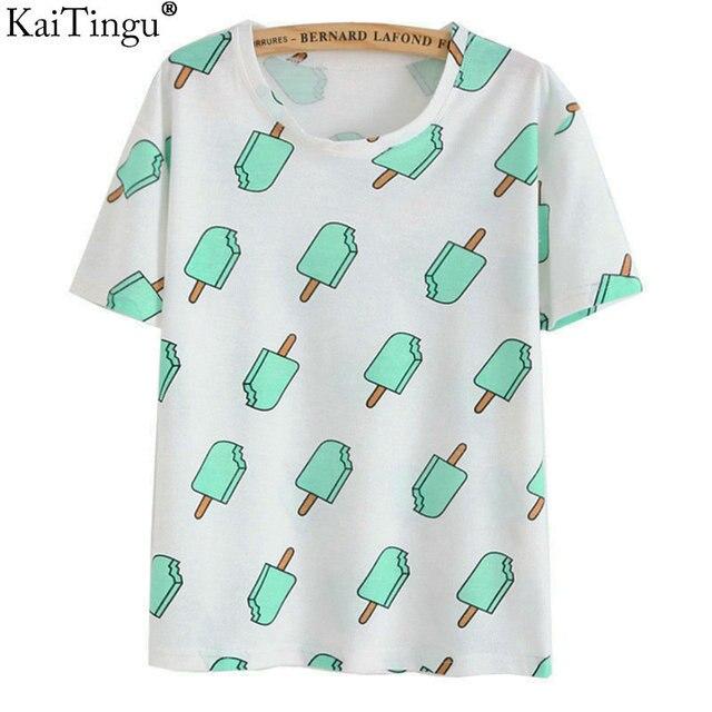KaiTingu Marca 2017 Novo Do Vintage Da Moda Verão Estilo Harajuku T camisa Roupas Femininas Tops Emoji Engraçado Camisetas Sorvete impressão