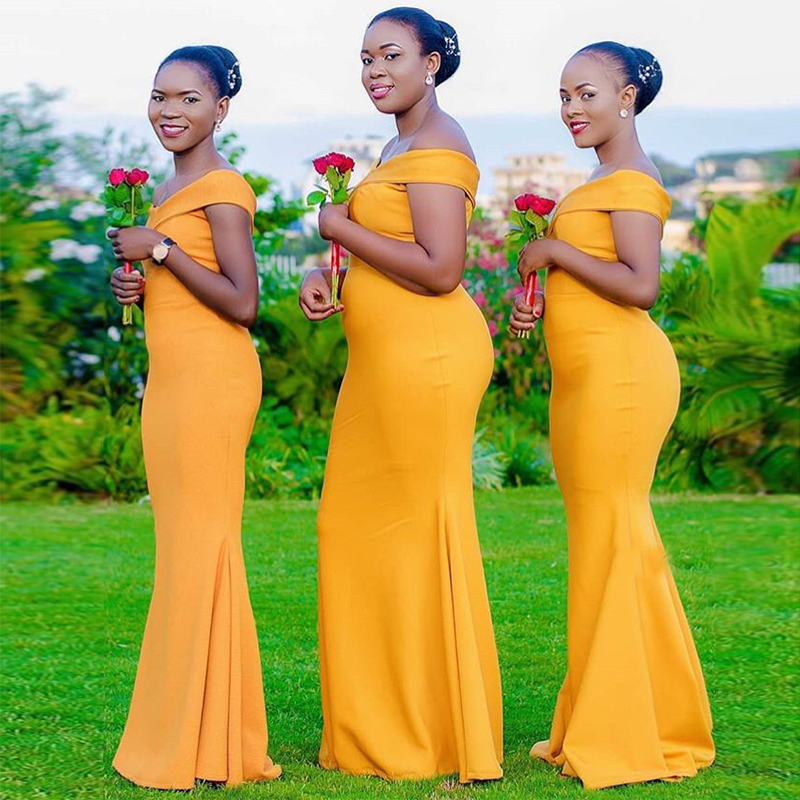 Off Shoulder African   Bridesmaid     Dress   Yellow Elastic Satin Mermaid Style Long Wedding Party   Dresses   Simple Women Robe De Soiree