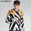 2017 New High-end Fashion Mens T Shirt Floral Printed Long Sleeve T shirt Homme Brand clothing Slim Fit O Neck Mens T-shirt