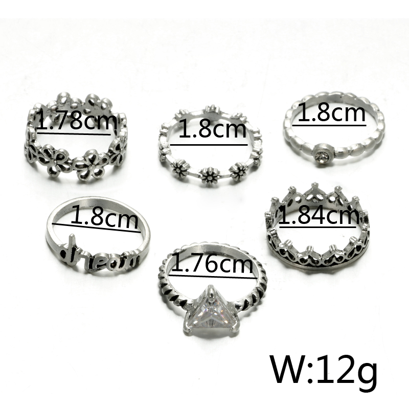 HuaTang Bohemian Antique Silver Ring Geometric Elephant Flower Green Rhinestone Knuckle Rings Midi Finger Anel Rings Jewelry 45