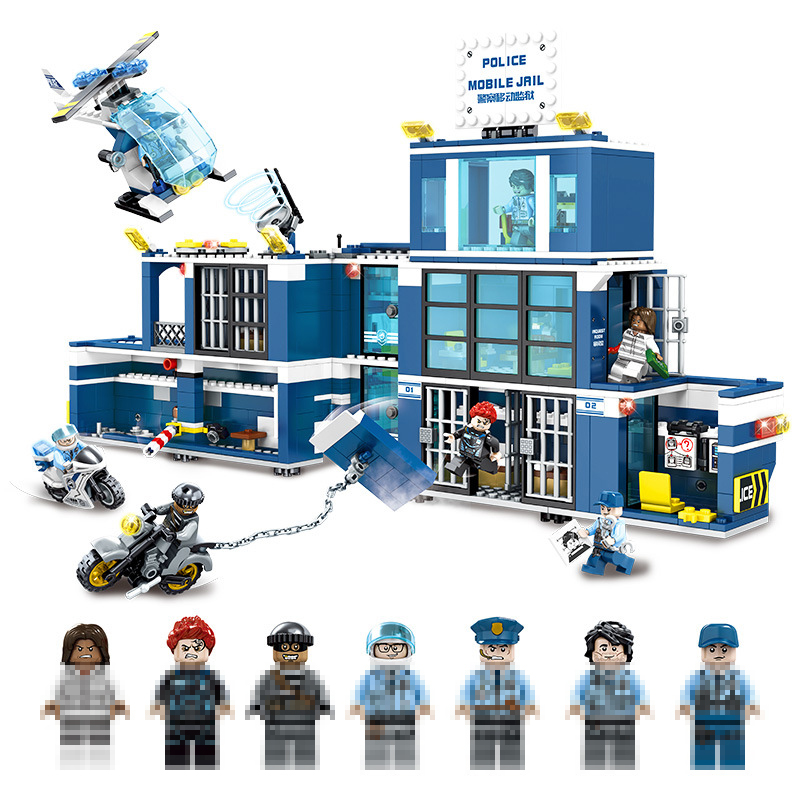 Compatible Legoinglys City Mobile Police Station SWAT Trucks Helicopter Building Blocks Set Toys for Children Christmas Gift military swat cars city police figure building blocks minifigures set christmas gift boys educational toys for children page 2