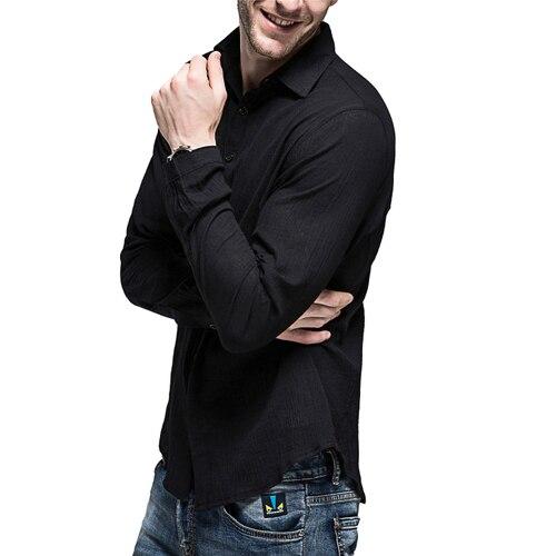 XMY3DWX 2018 Mode männlichen sommer hochwertige bettwäsche atmungs Beiläufige lange hülse shirts//männer reine farbe Baumwolle leinen shirts XXL