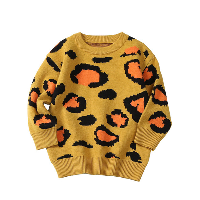 24M to 6 years baby & kids girls long sleeve knitted leopard print pullover sweaters children fashion fall winter sweater tops 2