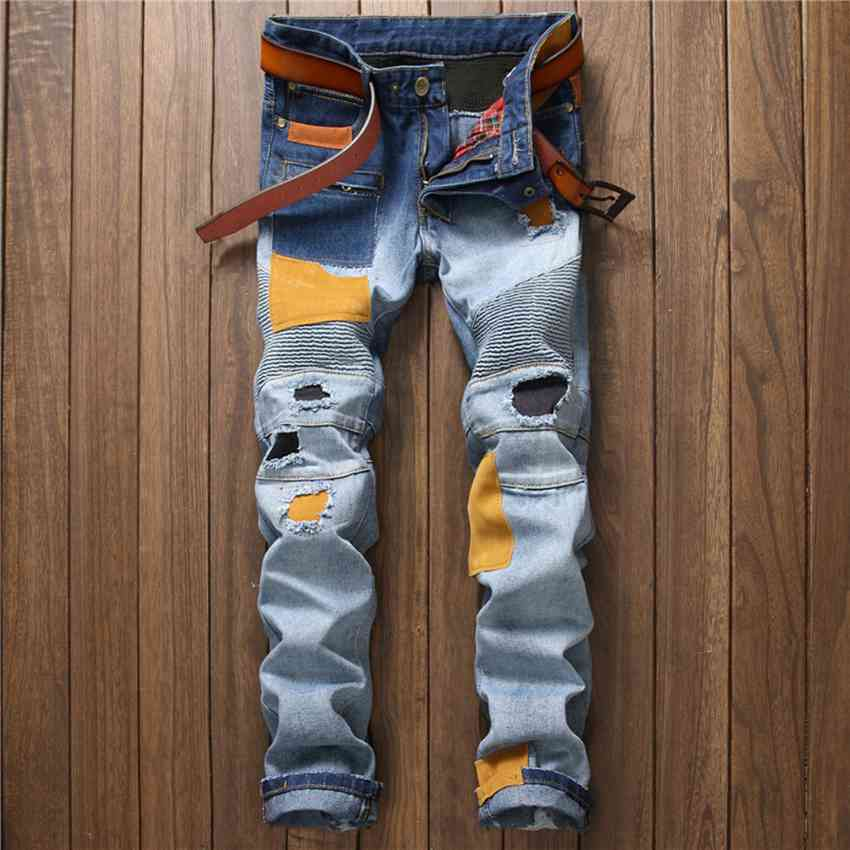 #1527 Patchwork Mens biker jeans Distressed Motorcycle pants Ripped jeans for men Skinny jeans homme Jogger jeans masculino