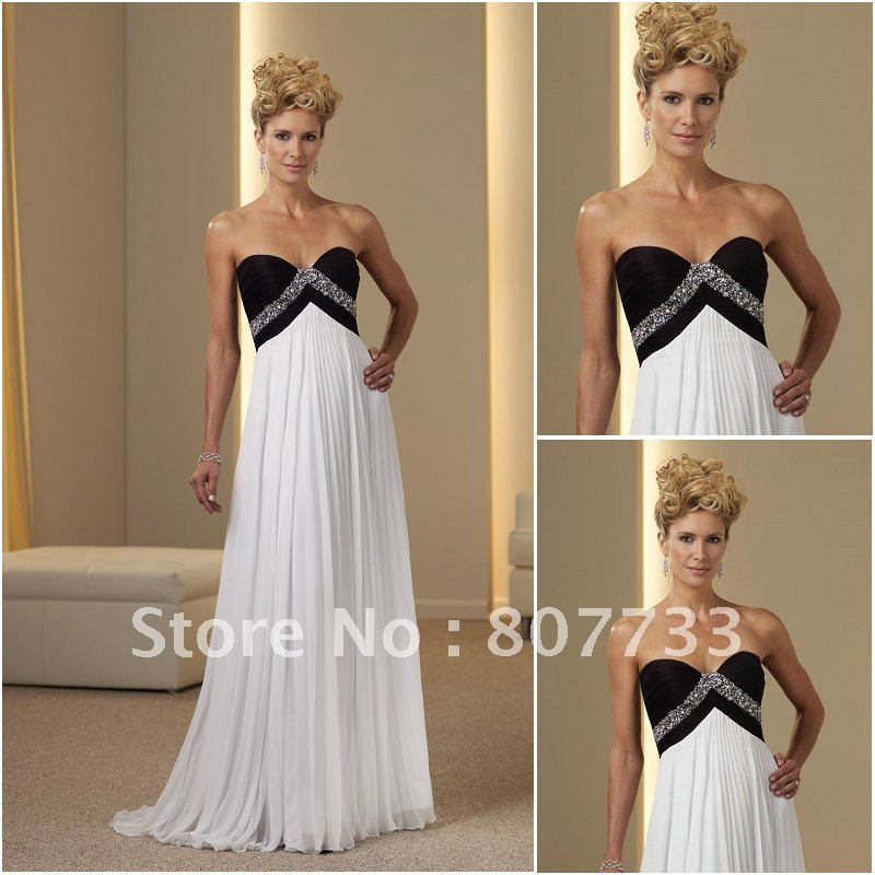 M0151 Custom Chiffon Black And White Mother Of The Bride Dress With