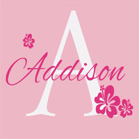 Flower Wall Decals Personalized Name and Initial Wall Decal for Girl Baby Nursery Room Waterproof Decorative 40 colors Stickers