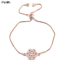 Pipitree Summer New CZ Crystal Flower Bracelet Femme Rose Gold Color Women Bracelets Chain Jewelry for Lady Lovers' Gift(China)