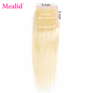 Mealid Brazilian Hair 613 Blonde Long Straigh Closure Free Part 1 Piece Only Remy Natural Color'8-18'Human Hair Lace Closure