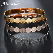Atoztide Religious Saint Benedict Wave Medal Bracelets For Women Adjustable Rose Gold Oval Coin Bangle Belief Jewelry
