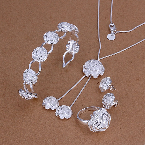 Silver plated fashion noble elegant Bangle necklace earring ring luxury gorgeous roses sets classic wedding jewelry S246