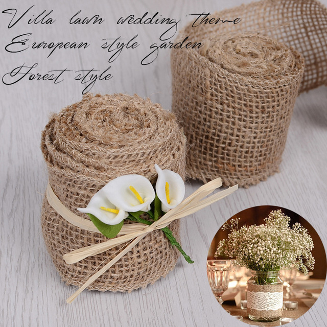 3005cm Jute Burlap Roll For Rustic Wedding Party Table Bottle Chair