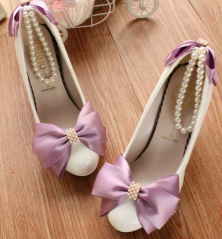 ФОТО 8CM high heels purple bow white wedding party dance pumps shoes for woman TG201 ladies ankle pearls strap platforms pumps