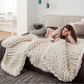Winter Solid Color Hand Chunky Knitted Blankets Thick Yarn Merino Bulky Knitting Throw Blankets
