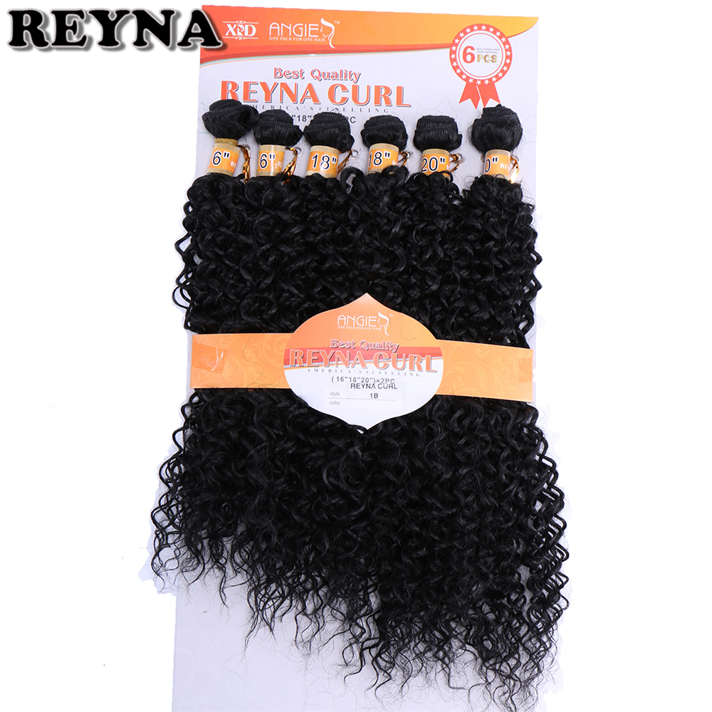 Kinky Curly Wave High Temperature Fiber Weave REYNA Synthetic Hair Bundles 6pcs/Lot Hair Gram
