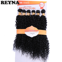 Mechones de pelo sintético de REYNA, tejido de fibra de alta temperatura con ondas rizadas, 6 unidades por lote