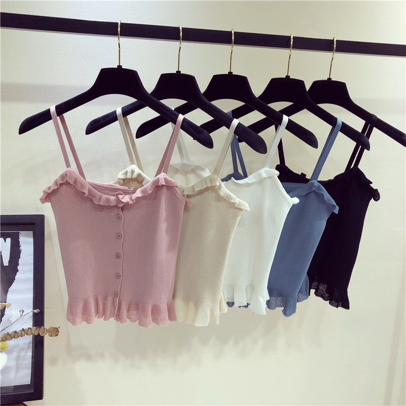 Women's Knitting Ruffles Buttons Cropped   Tank     Tops   Girls Knitted Slim Solid Chic Tee shirts Camis crop   Top   for Female 2018