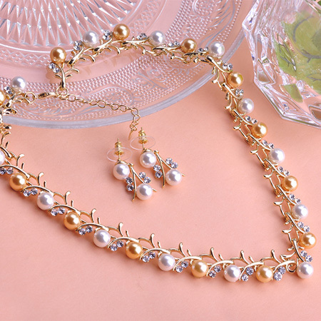 Trendy Indian Jewelry Set Wedding Accessories Gold Silver Brincos Earrings Pearl Jewelry Set Joias Joyas Women Necklace Set  Vaz