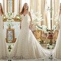 FF529 New Arrival V-Neck Tulle Lace Appliques Trumpet Wedding Dress 2016