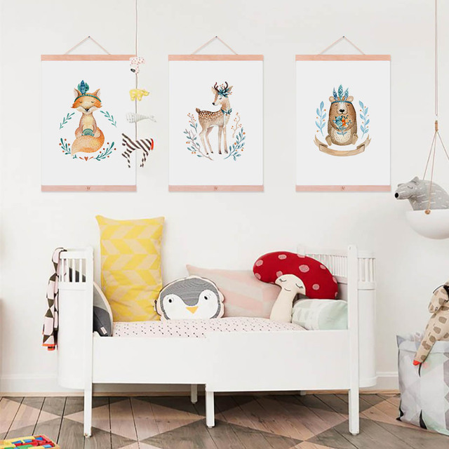 Us 8 36 47 Off Kawaii Watercolor Animal Bear Deer Fox Wood Framed Poster Nordic Baby Nursery Room Wall Art Picture Decor Canvas Painting Scroll In