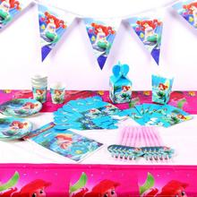 Русалка тема Мультфильм партия набор посуда тарелка салфетки баннер день рождения коробка конфет детский душ вечерние украшения
