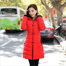 2018 new winter long section of large size women padded cotton jacket thick hooded down cotton