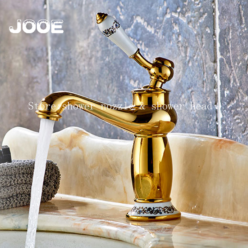 ФОТО Jooe European antique Gold brass Basin faucet hot and cold mixer bathroom faucet Single Handle water tap for sink torneira