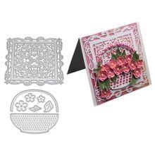 Flower Basket Metal Cutting Dies Embossing Stencil for Card Making Scrapbooking Album Paper DIY Crafts