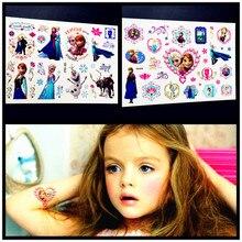 HOT 3D DIY Style Froze Elsa Anna Temporary Tattoo Sticker Kids Cartoon Princess Waterproof Tattoo Child Body Art Tatoo Arm Paste