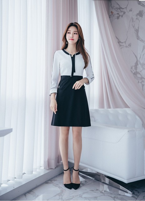 3b2608a97d6 2018 new quality design dresses women fashion summer beach casual office  lady working dress clothing bow