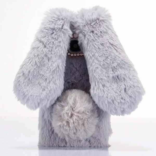 Per il caso di Samsung Galaxy Note 2 3 4 5 7 8 9 Carino 3D Del Coniglietto Del Coniglio Peloso Caldo di Pelliccia Bling rhinestone Peluche Caso Molle Della Copertura