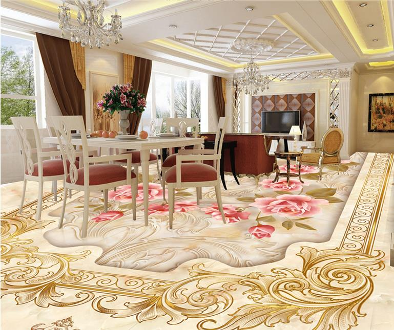 Custom 3d flooring Stone pattern jade wallpaper 3d flooring pvc water self adhesive wallpaper modern floor vinyl adhesive