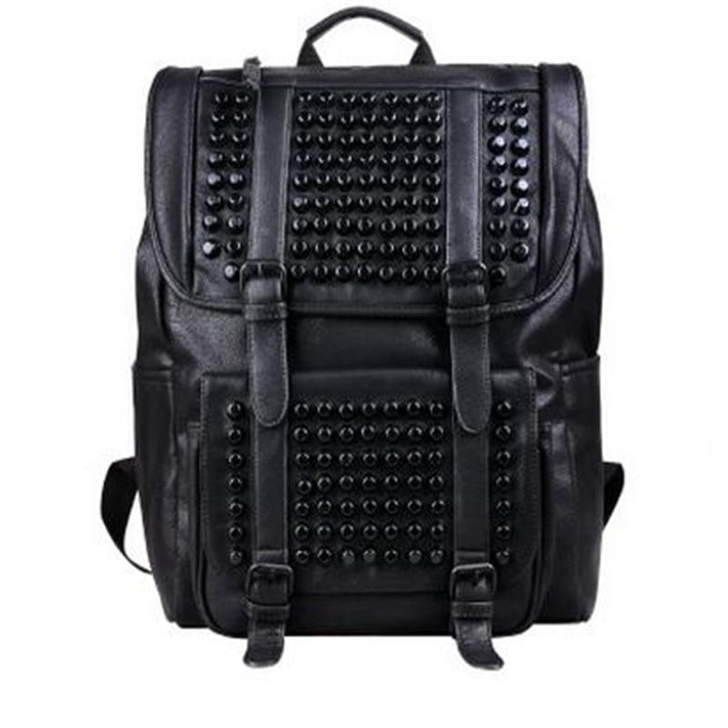New Style Men Tide Men And Women Students Black Rivet Backpack Fashion Unisex Large Capacity Laptop Bags Han Style Backpack fashion style