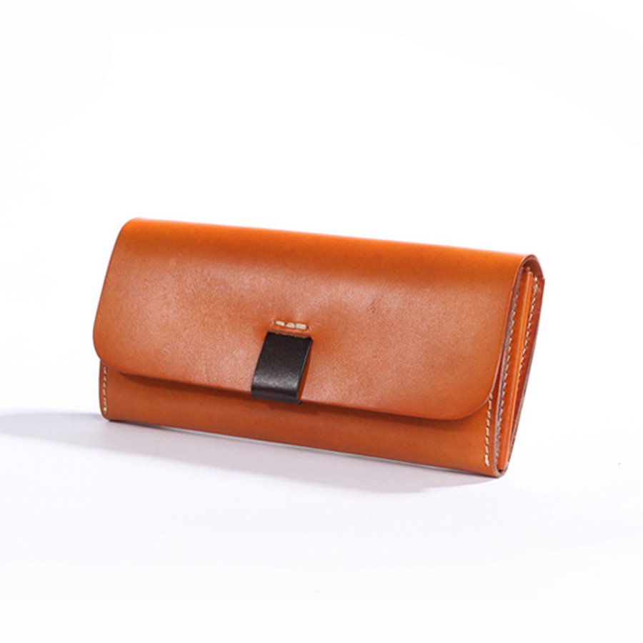 Original Brand New Designer Handmade Vintage Women's Long Clutch Wallets Genuine Cow Leather Solid Zipper Cards Money Clip Purse