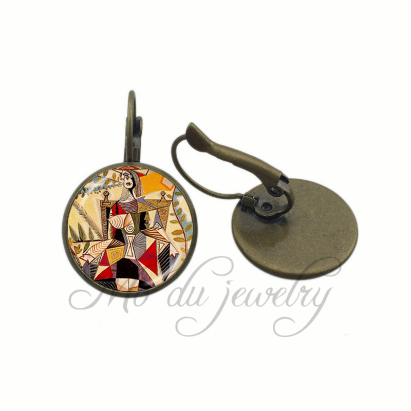 Woman Sitting In Chair Art Glass Dome Clip Earrings