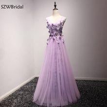 Moda vestido Formal V Neck Light Purple vestidos 2018 Flor Mão frisado Kaftan vestidos de Noite Vestidos de festa