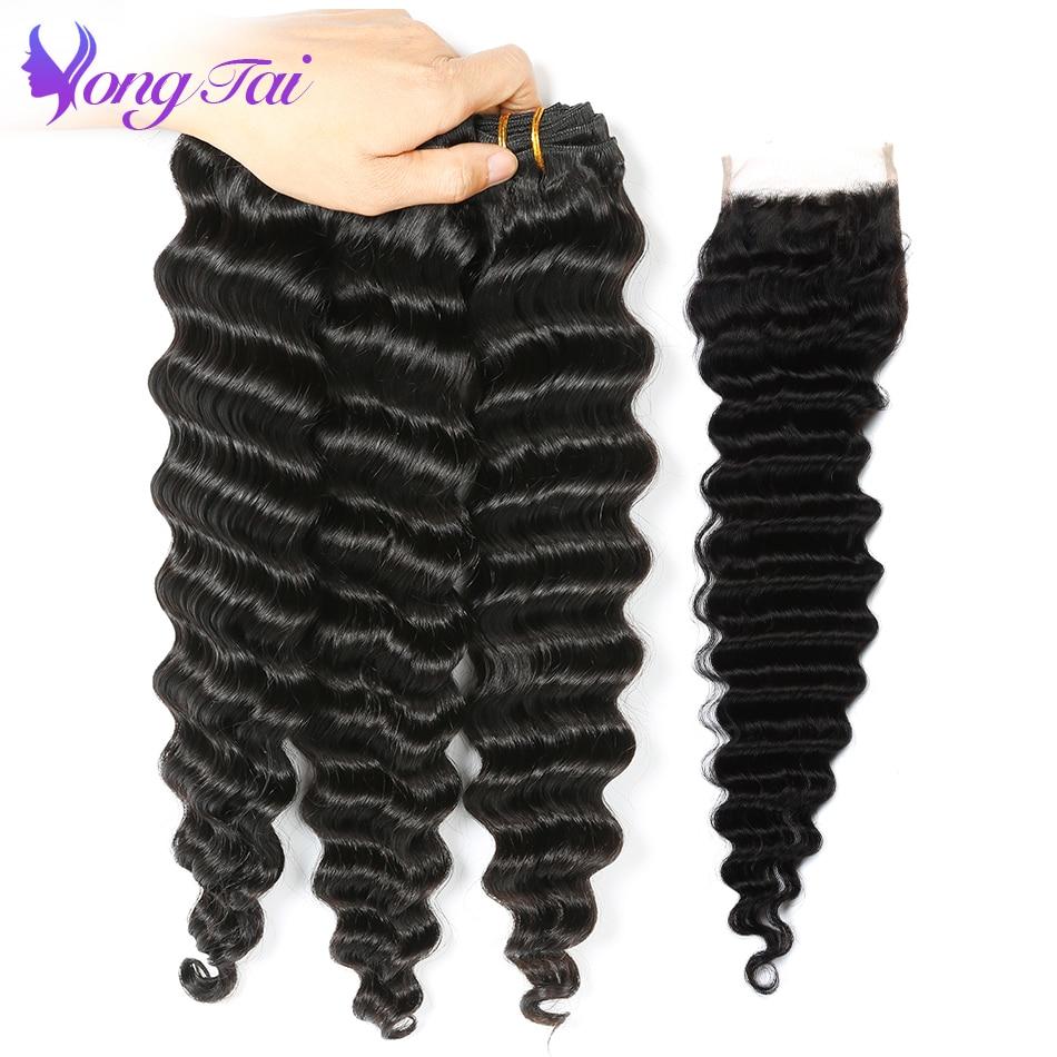 Yongtai produtos de cabelo onda profunda malaio tecer cabelo 3 pacotes de cabelo humano com fechamento não remy extensões de cabelo ser tingido