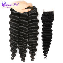 Yongtai Hair Products Deep Wave Malaysian Hair Weave 3 Bundles Human Hair Bundles With Closure Non-Remy Hair Extensions Be Dyed(China)