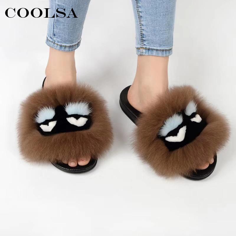 Coolsa Summer Women Fur Slippers Monster Slides Fluffy Real Fox Fur Slipper Non Slip Indoor Flip Flops Ladies Lovely Funny Shoes