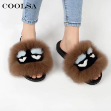 Coolsa Sommar Kvinnor Fur Slippers Monster Slides Fluffy Real Fox Fur Slipper Non Slip Inomhus Flip Flops Ladies Lovely Funny Shoes