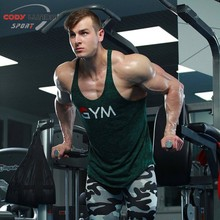 Mens gyms Fitness bodybuilding Tank Tops Crossfit cotton Slim fit sleeveless Shirts workout Undershirt Stringer vest tee clothes
