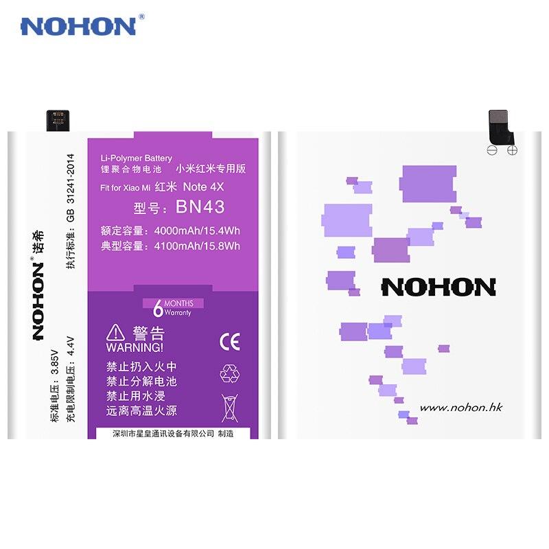 D'origine NOHON Batterie Pour XiaoMi RedMi Note 4X BN43 4100 mAh HongMi Note4X Haute Capacité Téléphone Intégré Li-polymère Bateria Outils