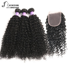 Joedir Peruvian Hair 3 Bundles Curly Hair With Closure Non Remy Kinky Curly Weave Human Hair Bundles With Closure