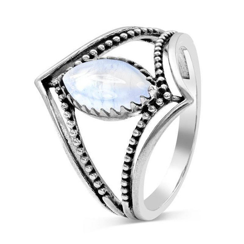 ZORCVENS New Silver Color Oval Moonstone Ring For Woman 2 Style Two-layer Twist Ring Dropshipping
