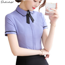 summer short sleeve plus size 4XL womens tops fashion office lady white gray shirt  turn-down collar blouses Dushicolorful
