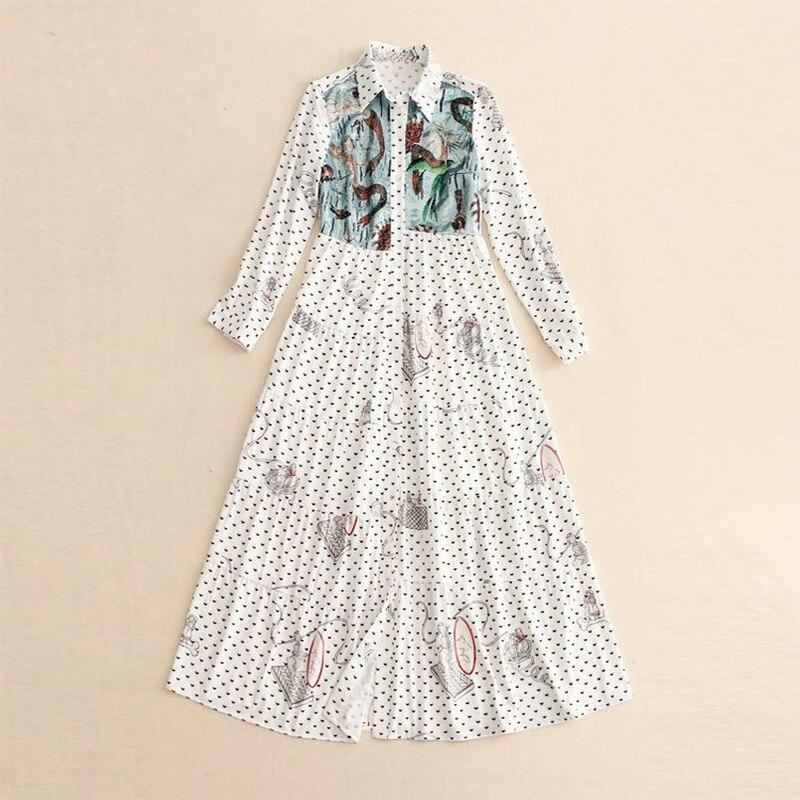Высокое качество 2018 осеннее Новое Женское платье с этническим принтом с длинным рукавом, офисное женское длинное платье рубашка, стильное п... - 2