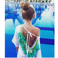 新しいファッション女性ロングスリーブ背中の開いたドレス房ヴィンテージ自由奔放に生きるセクシーな秋シフォンビーチドレスパーティーカジュアル白緑タッセル