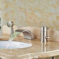 Двухслойные крепление Ванная комната свет Ванна кран Одной ручкой 3 отверстия ванна водопроводной воды матовый Никель отделка