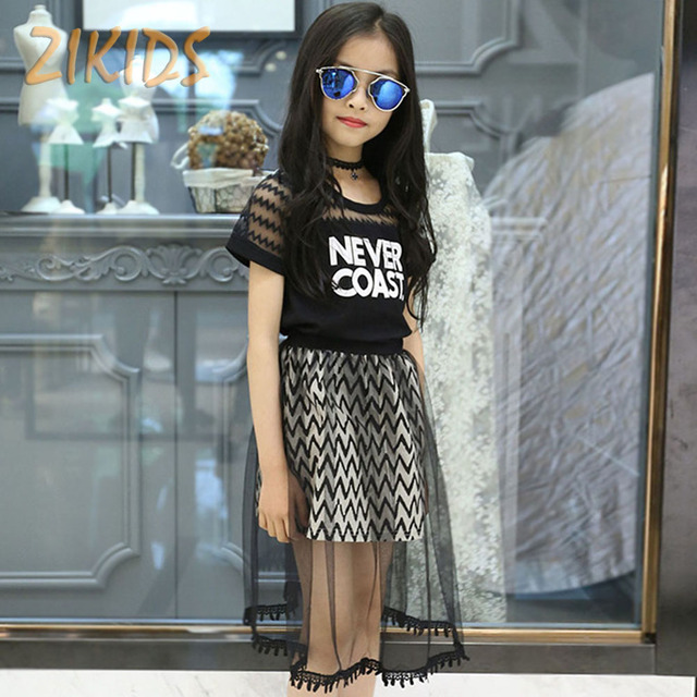 Girls Clothing Sets T-shirts+Mesh Skirts Teenage Casual Letter Lace Summer Dress Girl Brands Kids Clothes Sets for Party 2017