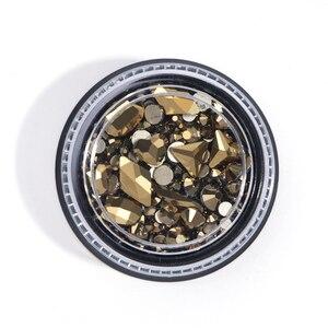 Image 2 - 1 תיבת מעורב 3D Rhinestones נייל אמנות קישוטי קריסטל אבני חן תכשיטי זהב AB מבריק אבנים קסם זכוכית מניקור אביזרי TR768