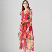 فساتين الصيف فستان ماكسي 2017 مدرج المرأة أزياء الحرير البريطانية نمط الأفريقية طباعة مثير اللباس ميدي فساتين للنساء